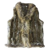 rabbit fur vest women 2017 new fashion autumn winter raccoon fur bottom Knitted real Rabbit fur Vest With Raccoon Dog Fur Collar