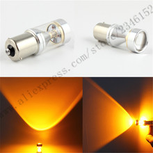 S25 1156 BA15S 30W LED With Lens 360-Degree Shine Driving Lamp Bulb Auto Car Brake Back-Up Sourcing Light White/Red/yellow