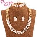 Fancyde Girl Big Eye Design Gold Plated Austrian Crystal Necklace Bracelet Ring Earrings Jewelry Set For Women Wedding Gift Set