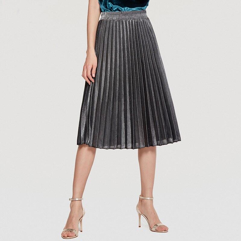 2019 Women Skirt Fashion Gold Color Slim Women Skirt Office Lady Formal Knee Length Pleated Skirt Beach Wear Casual Skrit
