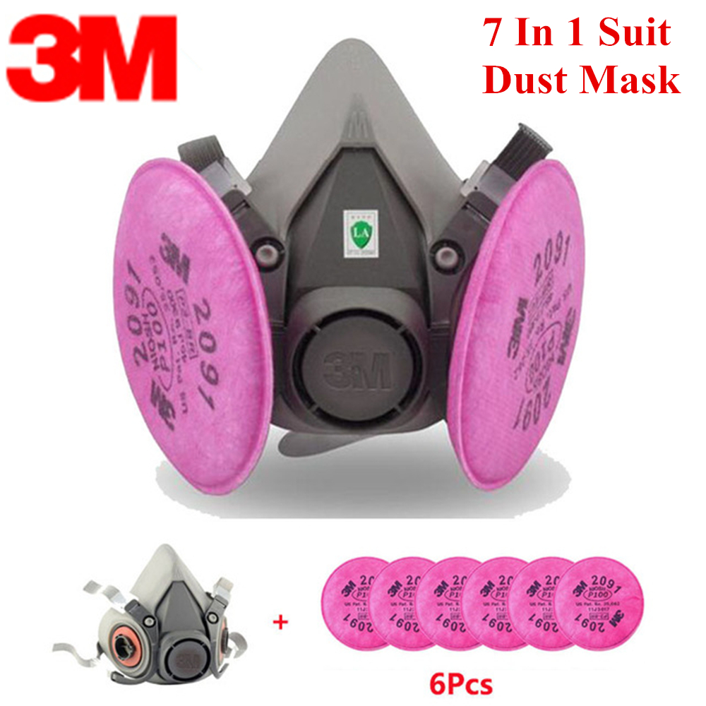 7 In 1 3M6200 KN95 Dust Mask Respirator Headset Anti-particulate Filters Anti-Dust Mask Anti-fog Haze PM2.5 Protective Masks 3m kn95 6200 2091 dust mask respirator with 1621af goggles anti dust gas anti fog and haze pm2 5 protective mask suit