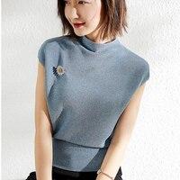 PIXY Blue Knit Ladies Tops Korean Clothes Women Tshirt Harajuku Shirt Summer Tees Champagne Pullover Koszulki Damskie Vogue Top
