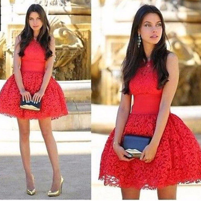 Red Mini Length Lace High Fashion Cocktail Dress 2016 Short Ball Gown Party Dress Sexy Sleeveless Vestidos De Festa Curtos(China)