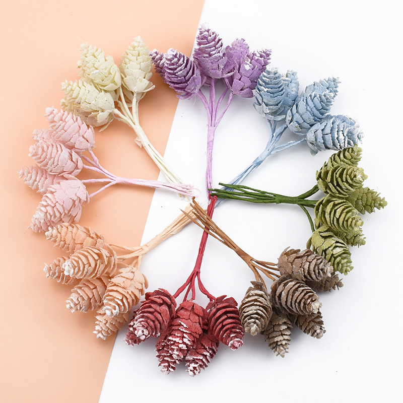 6pcs Artificial Plants Christmas Pine Cone Decorative Flowers Wreaths Wedding Home Decor Silk Flowers Scrapbookdiy Gifts Box