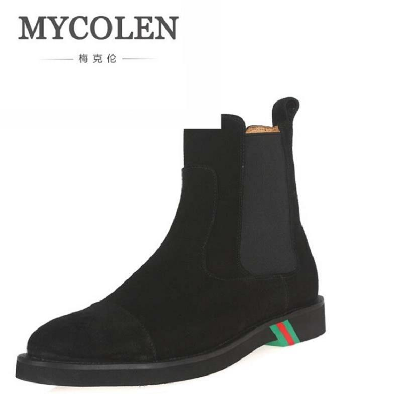 MYCOLEN Men's Chelsea Boots British Style Fashion Ankle Boots Men Black/Brown Soft Leather Round Toe Winter Shoes Laarzen serene handmade winter warm socks boots fashion british style leather retro tooling ankle men shoes size38 44 snow male footwear