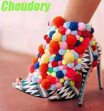 2017 Newest Rainbow Pom Pom Women Ankle Booties Sexy Peep Toe High Heels Zipper Back Ladies Fashion Spring Boots Party Shoes