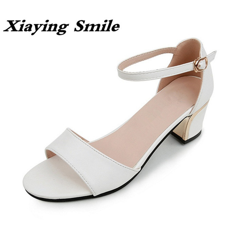Xiaying Smile Summer Woman Sandals Shoes Women Pump Square Heels Cover Heel Fashion Buckle Strap Sweet Lady Rubber Women Shoes xiaying smile summer woman sandals fashion women pumps square cover heel buckle strap fashion casual concise student women shoes