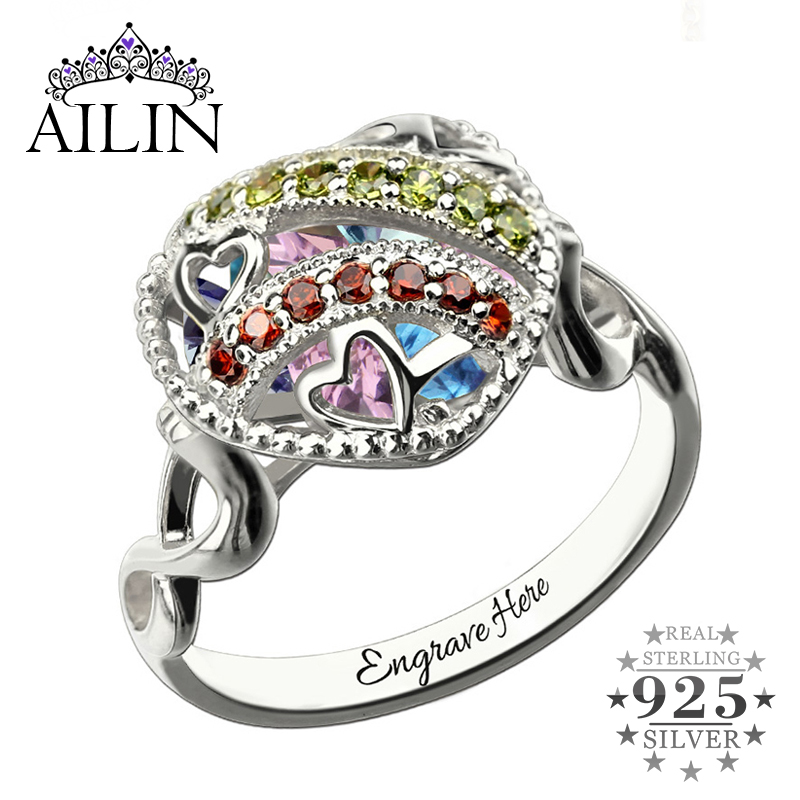 AILIN Customized Heart Cage Ring with Birthstone Sterling Silver Infinity Name Ring Family Birthstones Ring Gift for Mother caged heart locket infinity ring sterling silver birthstone ring engraved infinity ring mother s gift for grandma