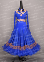 2017 New Competition ballroom Standard dance dress,figure skating dress,ballom dance wear,Waltz,Ballroom Dance Dress,blue