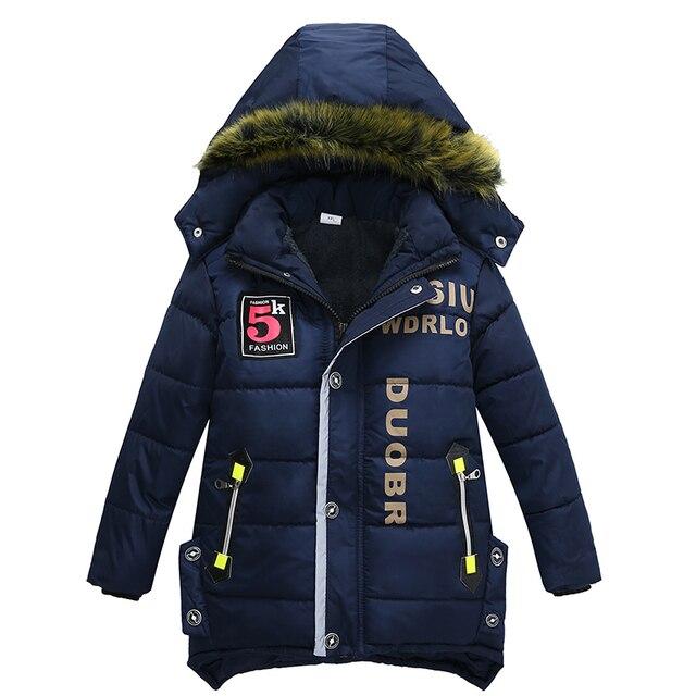 Новинка 2017 года пальто для маленьких мальчиков куртка Детская куртка с капюшоном детская зимняя теплая одежда модное пальто длинные Детские Модное пальто Дети пальто