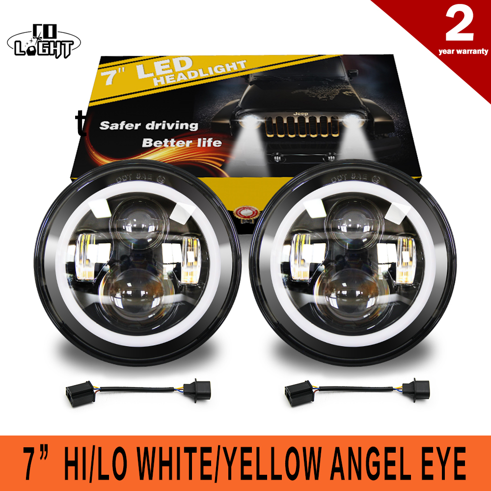 CO LIGHT 50W 30W 7 Inch Round Led Headlight Angel Eye High Low Beam DRL Auto for Offroad Jeep Wrangler Niva Lada 4x4 Uaz 12V 24V yait 2pcs 7 inch auto led headlight for jeep wrangler with white drl amber turn signal lamps for lada 4x4 urban niva uaz hunter
