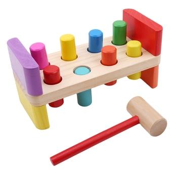 Baby Wooden Noise Maker Knock Ball Kids Hand Hammering Ball Box Kids Early Learning Educational Toys Montessor Birthday Gift