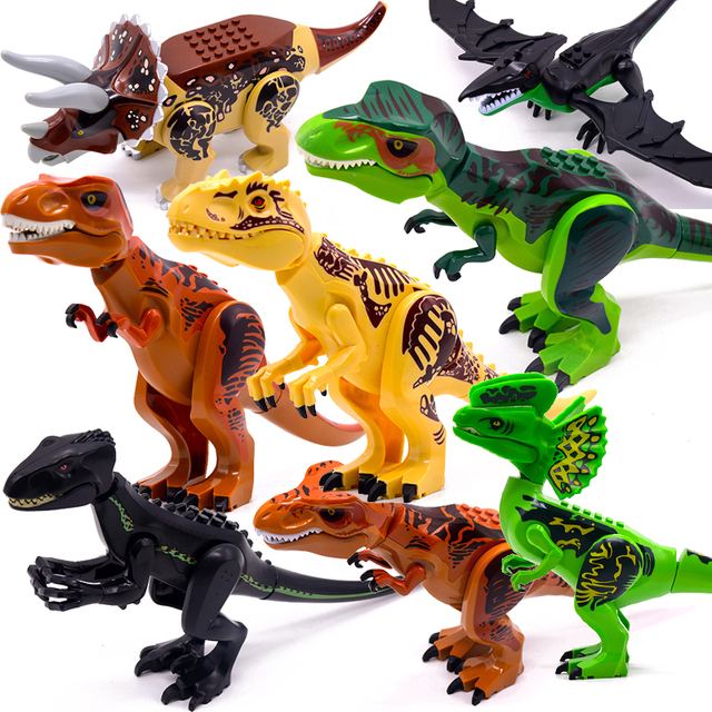 Jurassic Dinosaur World Raptor Mini 2 Figures Army Building Blocks Bricks Dino Car City Creator Toys For Children Boys