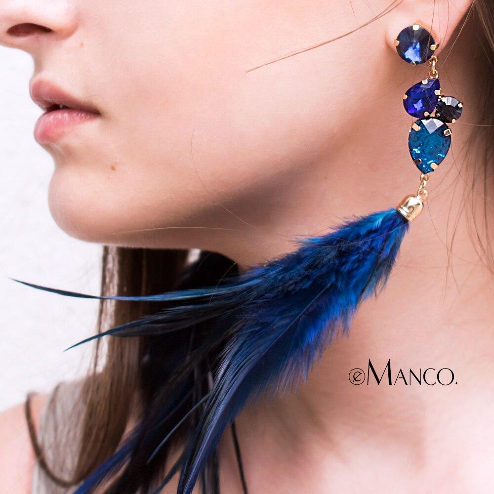 eManco Luxury Animal Feather Drop Earrings for women Rhinestone Decor Crystal Earrings Fas