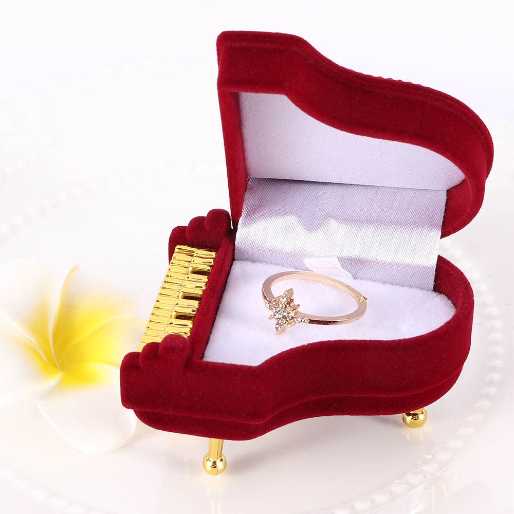 Creative Piano Ring Box Earring Packing Pendant Jewelry Box Storage Case Gift Case For Wedding Engagement Rings Jewelry Box Orga