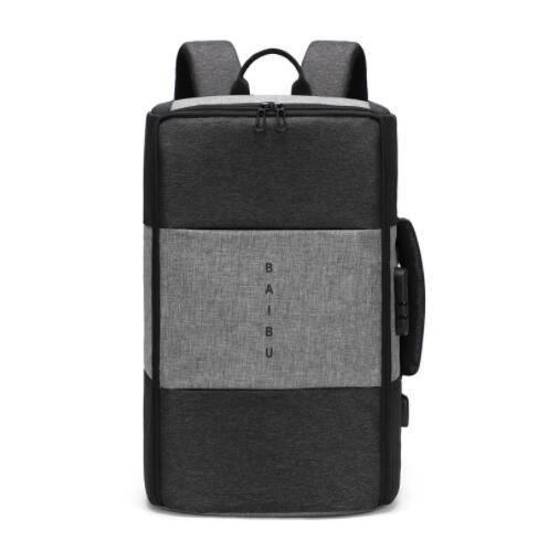 Мужской рюкзак, новинка, анти-вор, многофункциональный, водонепроницаемый, 17 дюймов, USB, рюкзак для ноутбука, дорожная сумка, мужской рюкзак для багажа - Цвет: Серый
