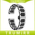 18mm 20mm 22mm + cerâmica faixa de relógio pulseira de aço inoxidável universal butterfly buckle strap pulseira + atualizado ligação remover