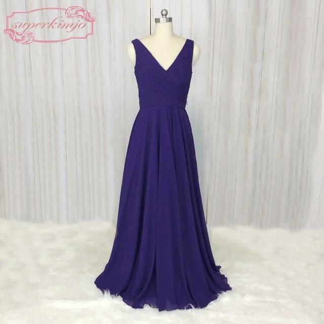SuperKimJo Wedding Guest Dresses 2018 A Line Cheap Chiffon Royal Blue  Bridesmaid Dresses Long Vestidos De Madrinha 21b8e8622150