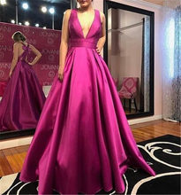 BeryLove V Neck Fuchsia Evening Dresses 2018 Satin Evening Gowns Long Formal  Evening Dress With Bow 95fee48fced3