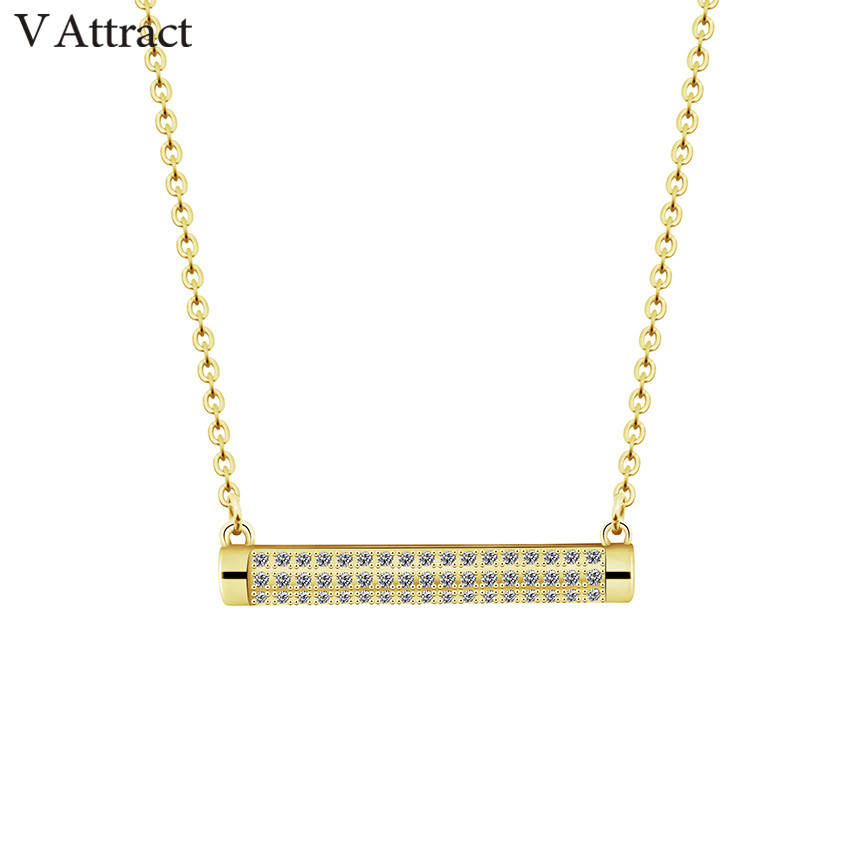 V Attract Vintage Bijoux Femme Geometric Long CZ Bar Pendant Necklaces Graduation Hip Hop Jewelry Half Cylinder Choker Femme