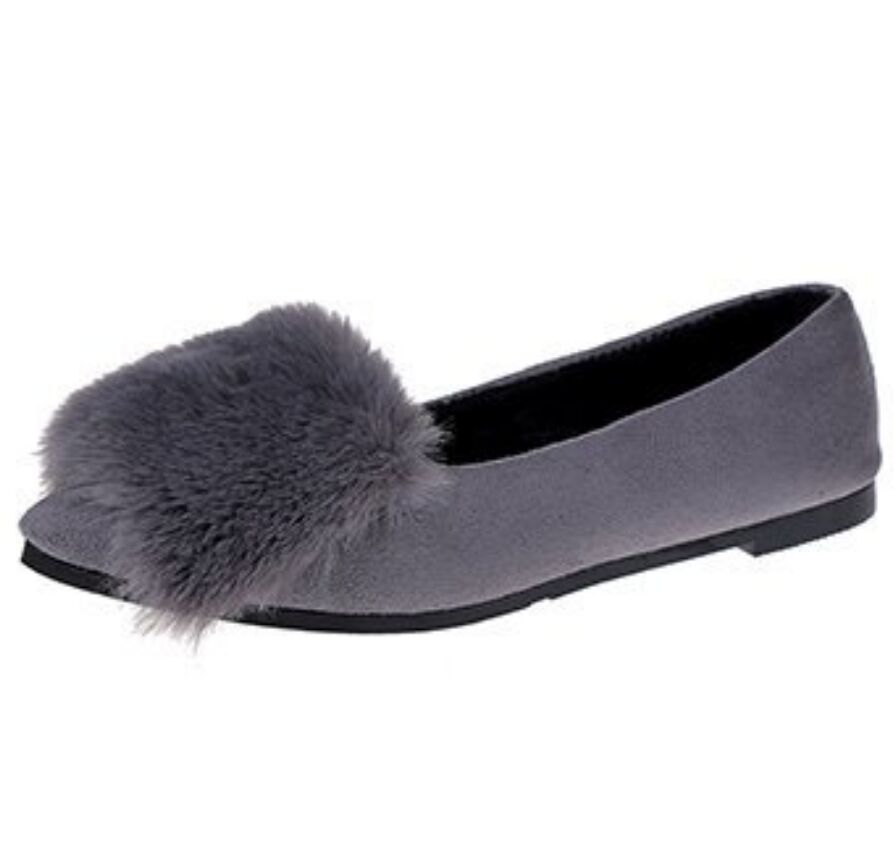 Xiaying Lächeln Frauen Winter Haar Wohnungen Warme Schuhe Mit Faux Pelz Gleitschutz Schuhe für frauen Neue Stil Mode Schuhe Gummi boden