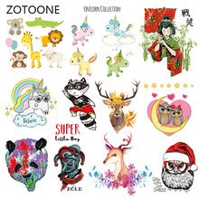 ZOTOONE Stripes Patches Set Iron on Transfer Cute Dog Owl Patch for T-shirts Girl Kid Clothing DIY Thermo Stickers Clothes M
