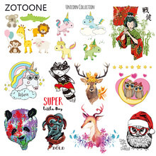 ZOTOONE Stripes Patches Set Iron on Transfer Cute Dog Owl Patch for T-shirts Girl Kid Clothing DIY Thermo Stickers on Clothes M(China)