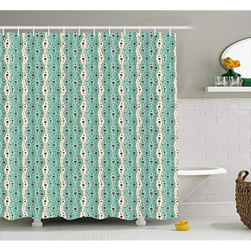 Vixm Turquoise Shower Curtain Traditional Polka Dots Vertical Lines Abstract Hand Drawn Artistic Fabric Bath Curtains In From Home Garden