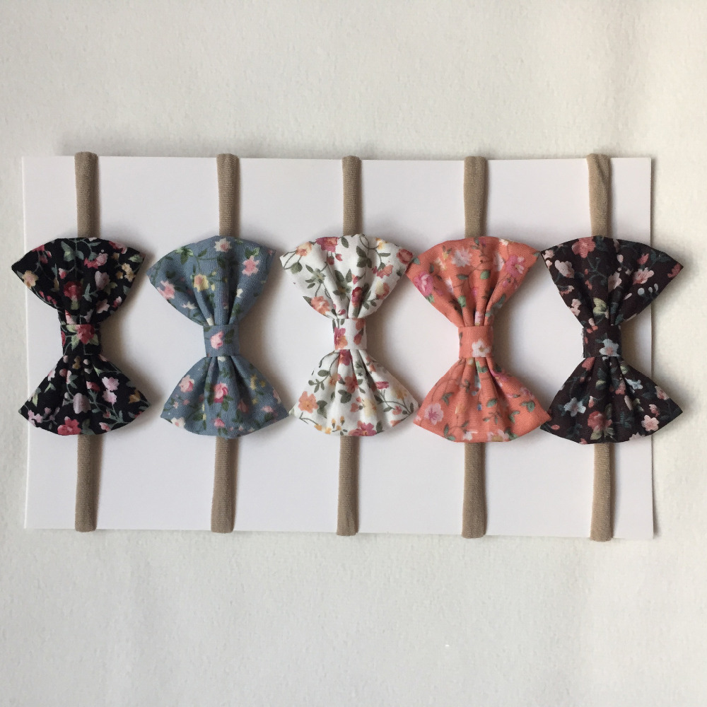 Bebe Nylon Headband Elastic Print Soft Hair Bows Tie Bowknot Kids Hair Band Children   Headwear   Hair Accessories Dropshipping