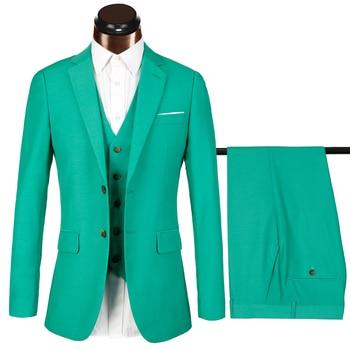 PAULKONTE 2019 New Design Green Men Suit Fashion Casual Solid Business Wedding Suits Pant 3pcs Designs Classic Men's Suit