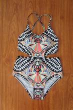 2016 Hot Bohemia Sexy One Piece Swimsuit Women Monokini Printed Swimwear Colorful One Piece Bathing Suit