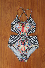 2016 Hot Bohemia Sexy One Piece Swimsuit Women Monokini Printed Swimwear Colorful One Piece Bathing Suit #D1