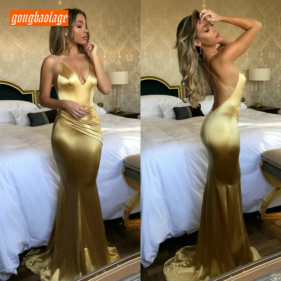 Fashion Gold Women Mermaid Long Evening Dresses 2019 Sexy Evening Gown V-Neck Elastic Satin Backless Slim Fit Party Dress Prom