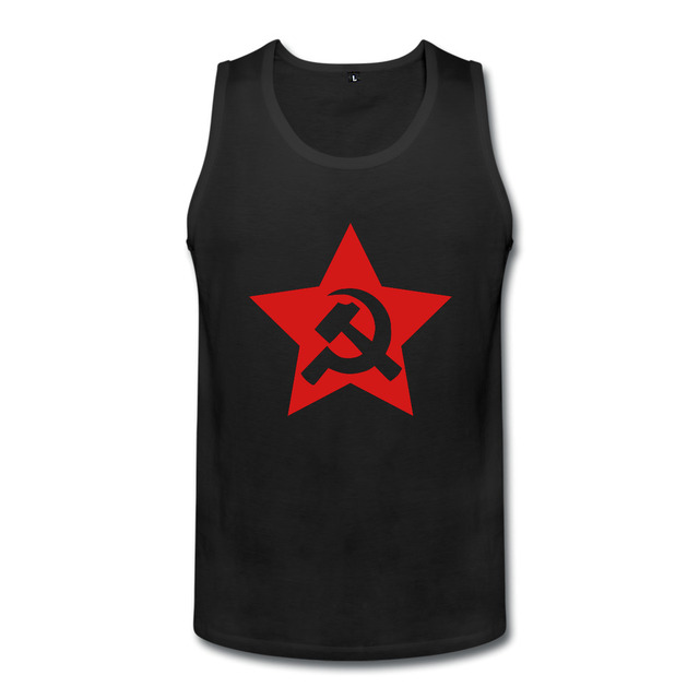 Comunista da URSS Martelo Algodão Tanque Impresso Top Sem Mangas O-pescoço  Manga Curta Personalizado 788a1cf26f9