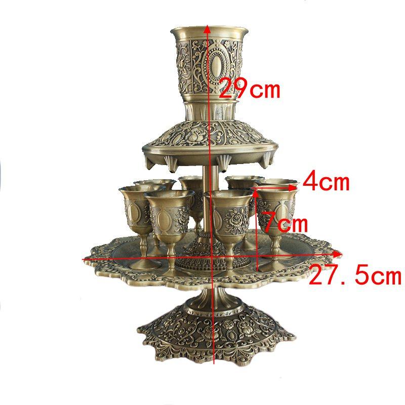 12PCS/set bronze color metal wine set metal Rose carving beer whiskey decanter for Decorative wine decanter set  JJ061