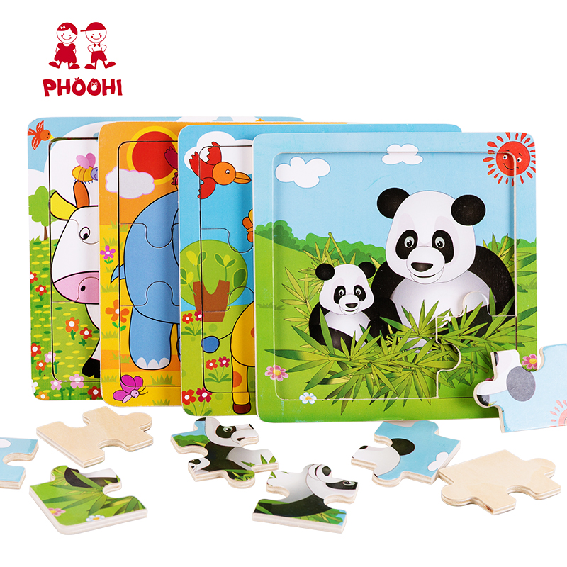 Wooden Toys Kids Animal Simple Jigsaw Puzzle Pieces Plywood Baby Educational Toys Puzzle For Toddler PHOOHI