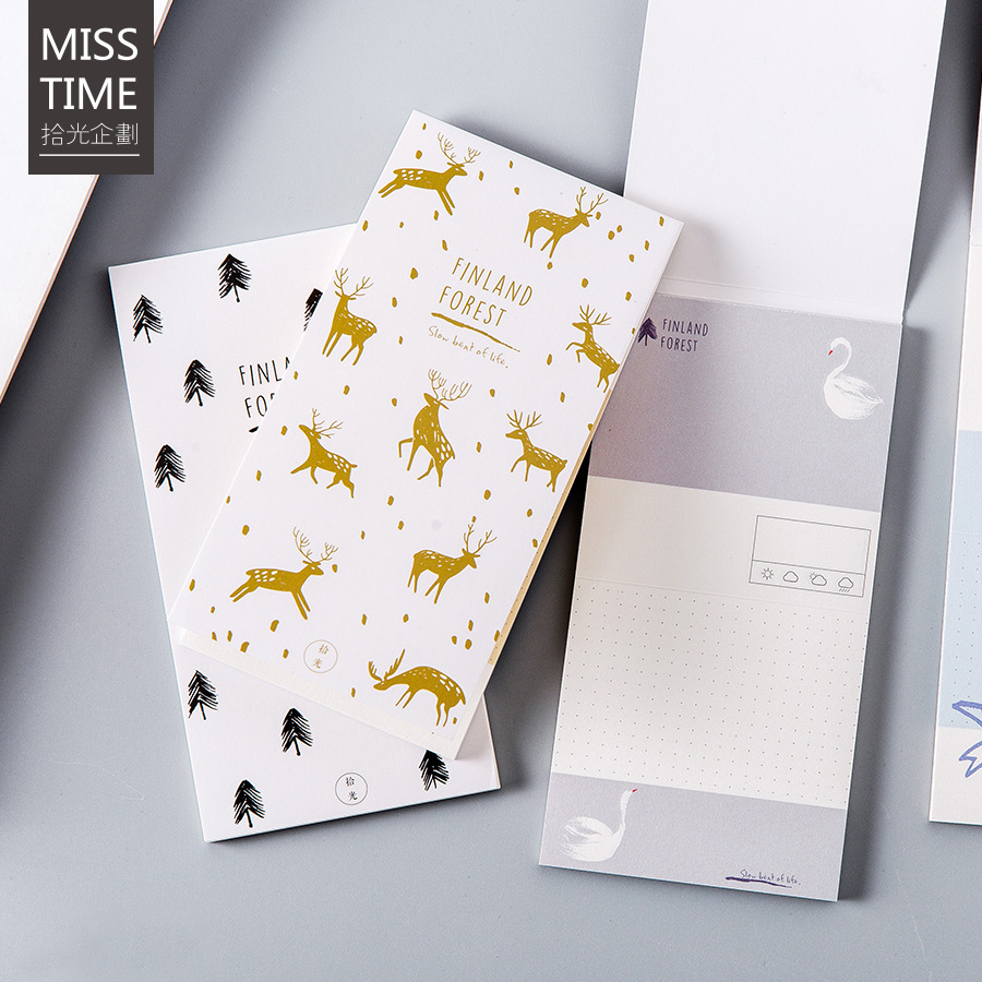 Fresh Finland forest Birds/deer/forest/swan notepad memo pad paper sticky notes notepad post it stationery school supply Escolar купить в Москве 2019