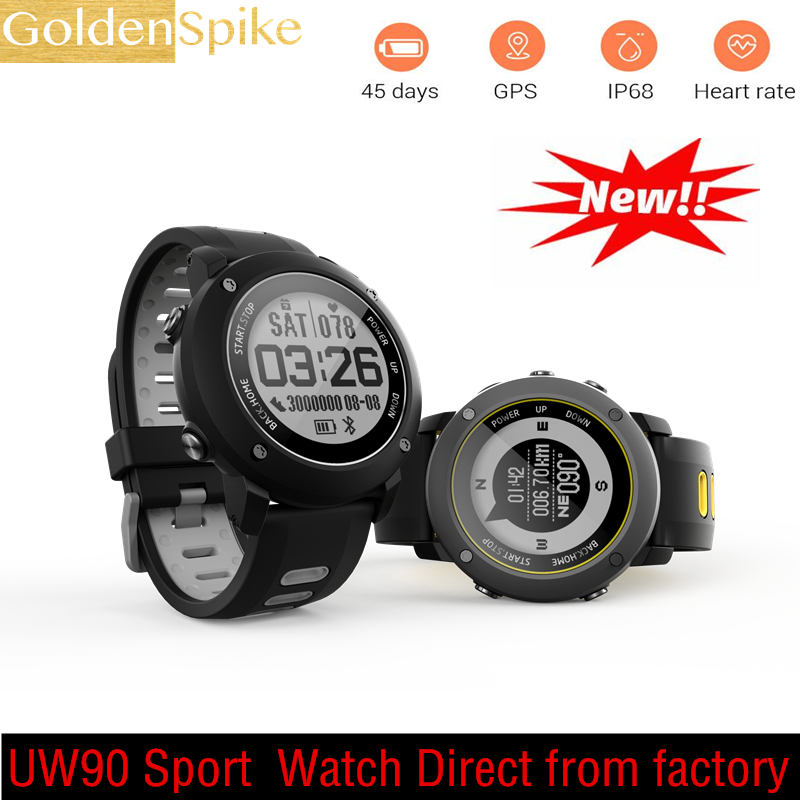 Waterproof IP68 SmartWatch UW90 Heart Rate Monitor 450mAh GPS Sport Smart Watch For Lenovo Watch KW88 HUAWEI Watch 2 FS08 S3 F5