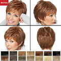 New Arrival MAYSU Elegant Layered Short Human Hair Wigs Blonde wig For Women Brazilian Virgin Hair Wig Elasticated Cap Capless