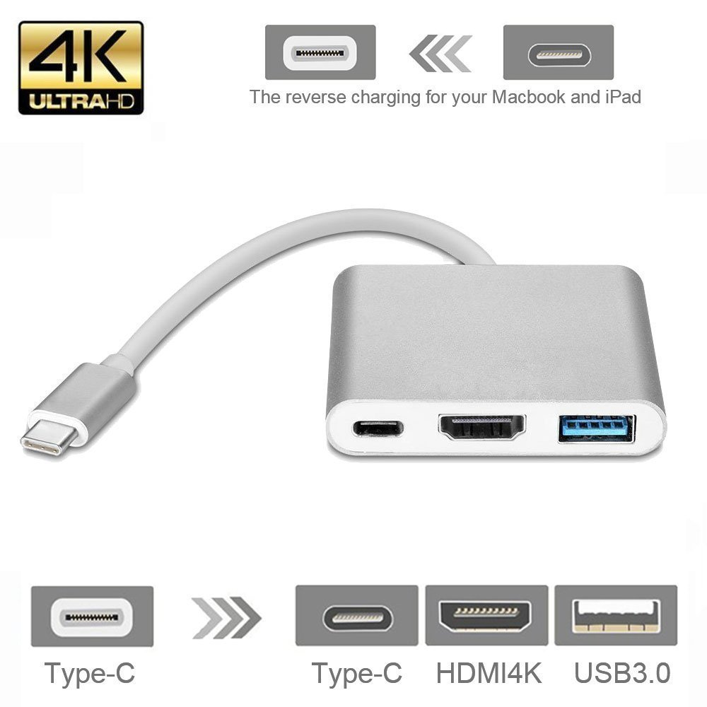 3 in 1 Type-C to 4K HDMI USB-C Digital Multiport Adapter USB 3.1  USB 3.0 HUB With 1 Charging Port for Macbook Chromebook Pixel 4 in 1 usb c hub adapter usb 3 1 type c to hdmi 4k gigabit ethernet rj45 port usb 3 0 usb 3 1 converter for macbook laptop