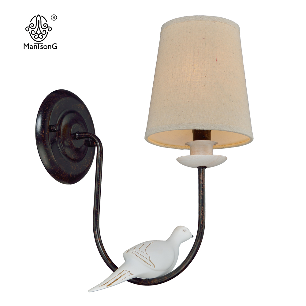 Modern Wall Light Bird Bedside Classical Vintage Sconce Wall Lighting Decor Home Fixture Bedroom Retro Design Fabric Wall Lamps ...