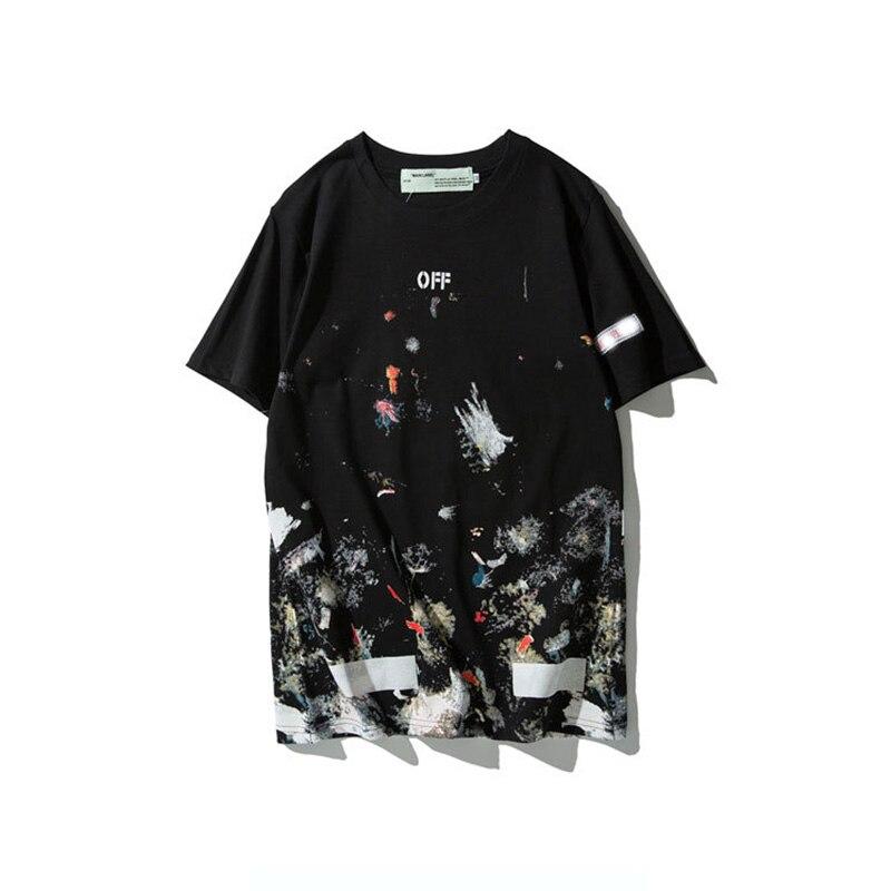 De estilo camiseta Hip Pop fuegos artificiales Graffiti pintura camiseta para hombre blanco Doodle ropa monopatín algodón Camisetas para niño