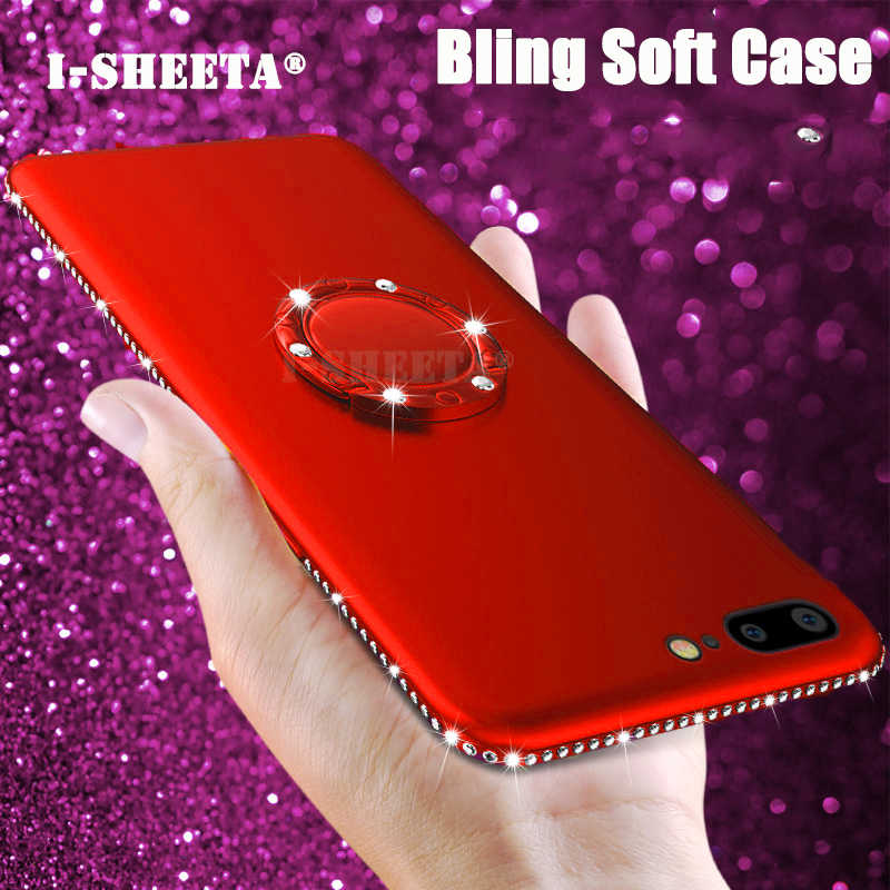 3D Diamond Glitter Case For iPhone 6 6s Plus 6Plus Rhinestones Bling soft TPU Silicone Matte Cover For iPhone 7 8 Plus 7Plus