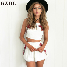 GZDL Sexy Summer Women Embroidery Floral Camis Sleeveless Spaghetti Strap Crop Top Fashion Chiffon Female Camisole Tops CL3875