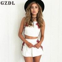 GZDL Sexy Summer Women Embroidery Floral Camis Sleeveless Spaghetti Strap Crop Top Fashion Chiffon Female Camisole