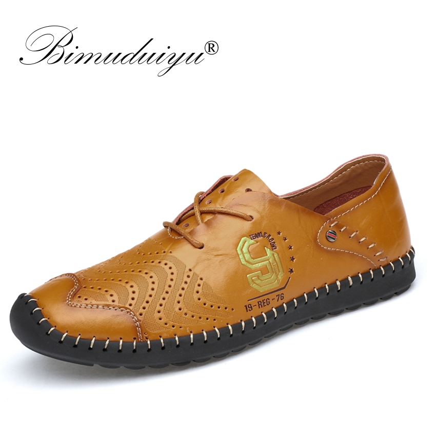 BIMUDUIYU 2018 New fashion Leather Casual Shoes Men Spring Summer Breathable Sneakers Lace Up Mens Flat leather Driving Shoes 2016 spring summer new old leather lace round japanese casual shoes retro fashion leather shoes