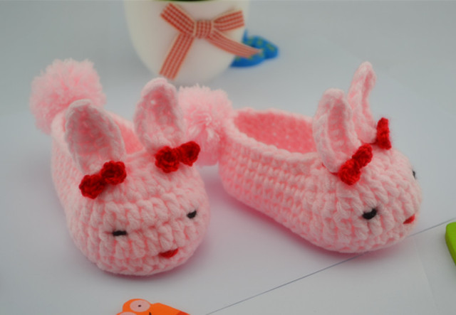 Newborn cartoon first walkers Baby Shoes Infants Crochet Knit Fleece Boots Toddler Boy Wool Crib Shoes Winter Booties soft-soled