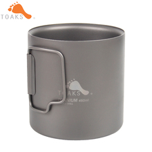 TOAKS 450ml Titanium Mug Coffee  Double Wall Titanium Camping Cup Drinkware Outdoor Water Cup Folding Handle стоимость