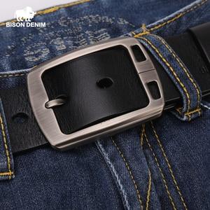 Image 2 - BISON DENIM Genuine Leather Mens Belt Vintage Pin Buckle Accessories Male Belts Gift Designer Belt Men Jeans Belt N70781