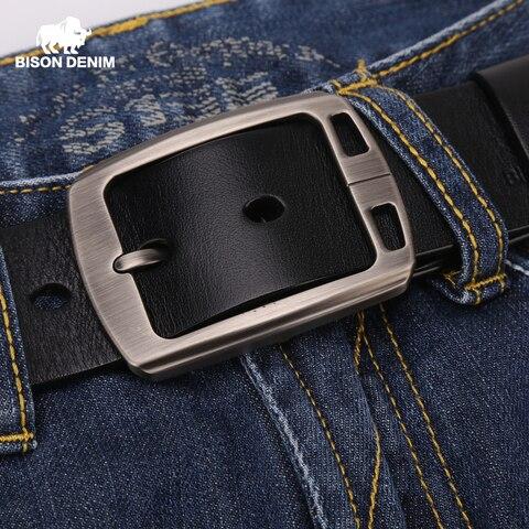 BISON DENIM Genuine Leather Mens Belt Vintage Pin Buckle Accessories Male Belts Gift Designer Belt Men Jeans Belt N70781 Lahore